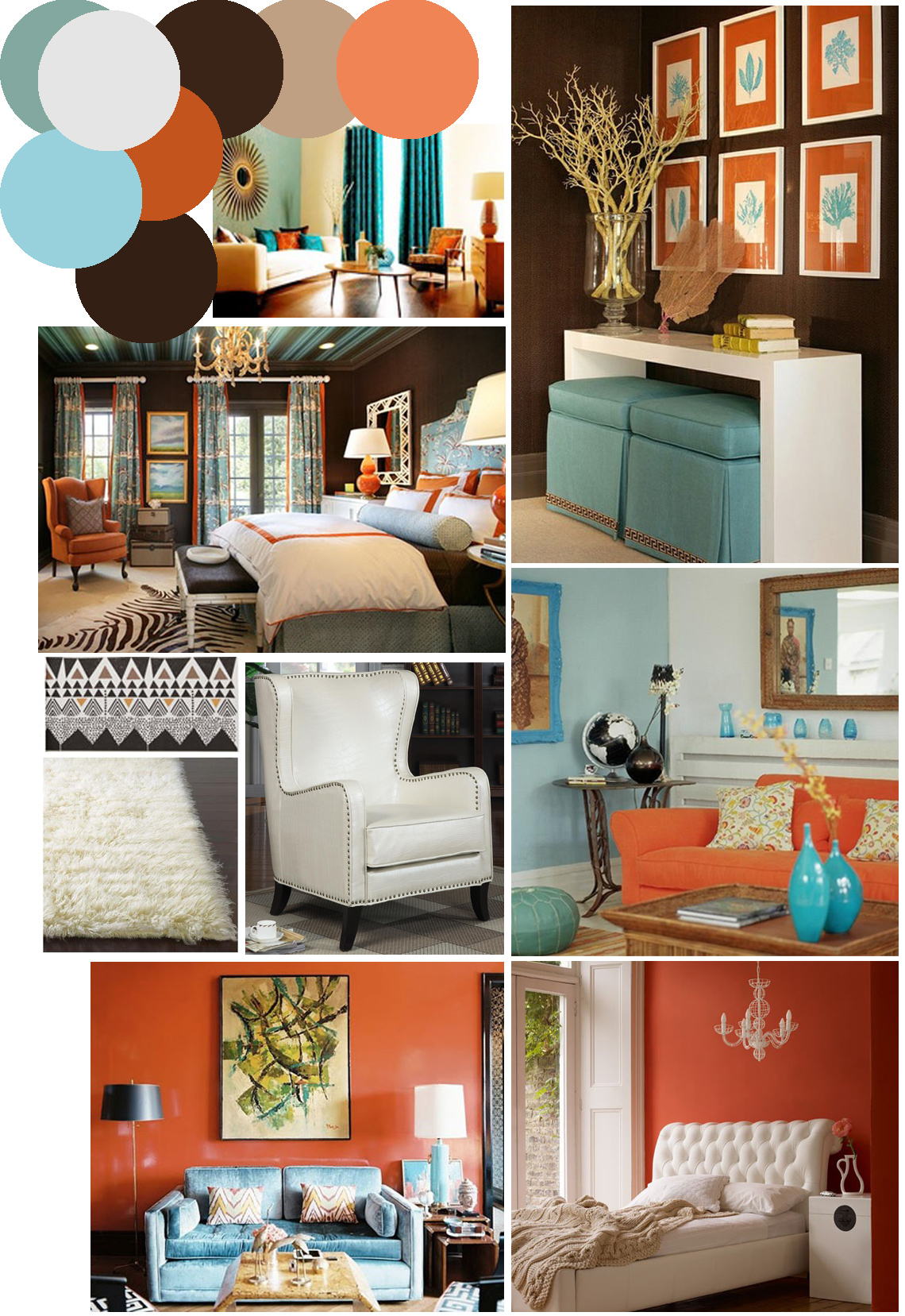 Mr. Kate   Color Palette Inspo: Chocolate Brown, Coral And Robinu0027s Egg Blue