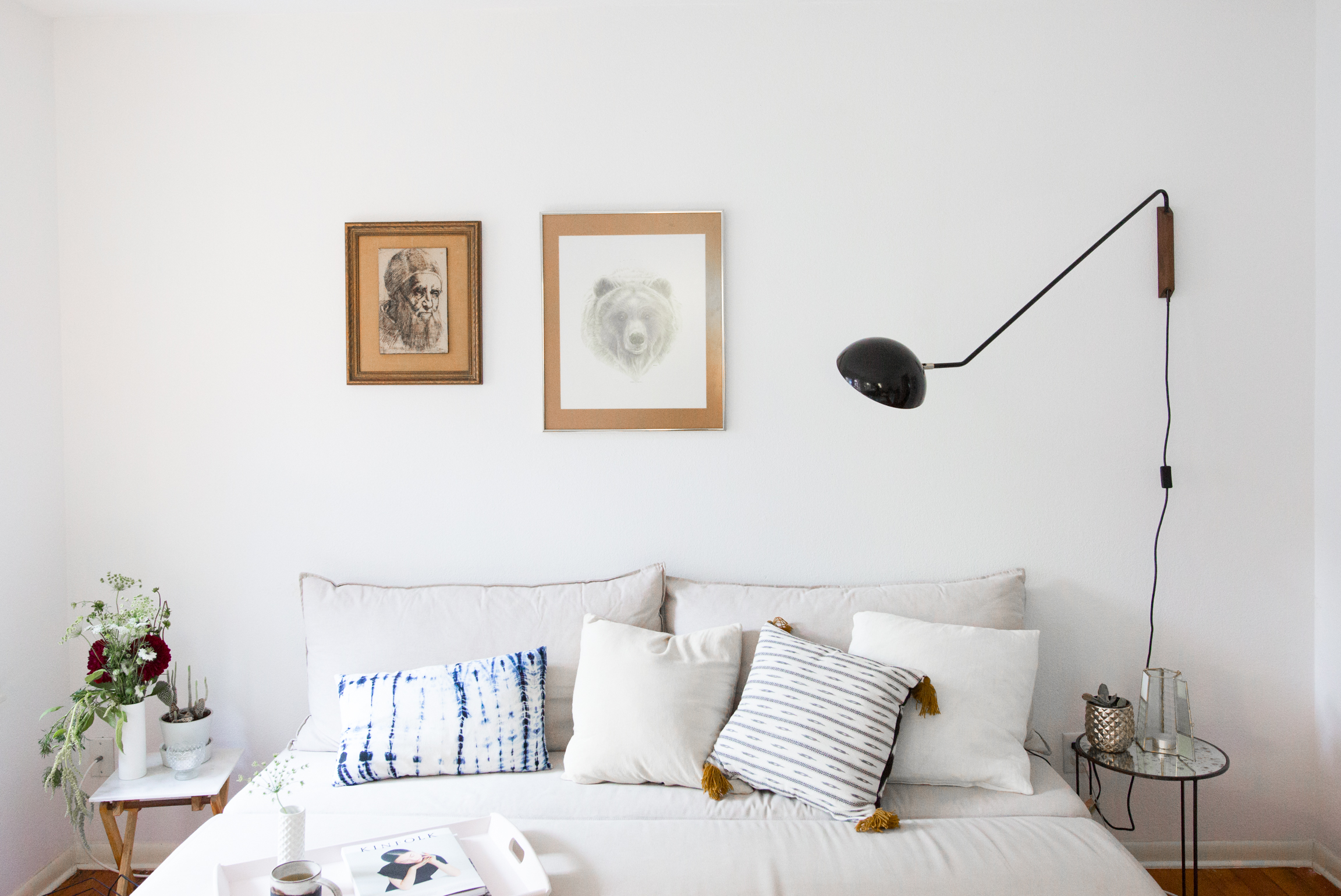 Mr kate design showcase minimalist thrift store found for Minimalist living bedroom
