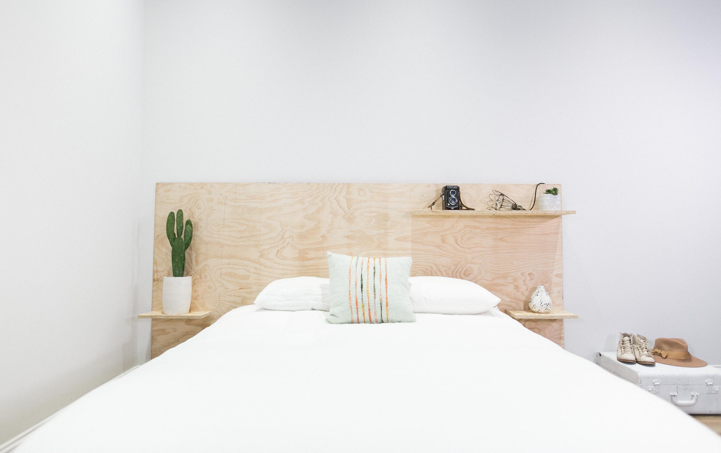 Mr Kate DIY Minimalist Plywood Shelf Headboard