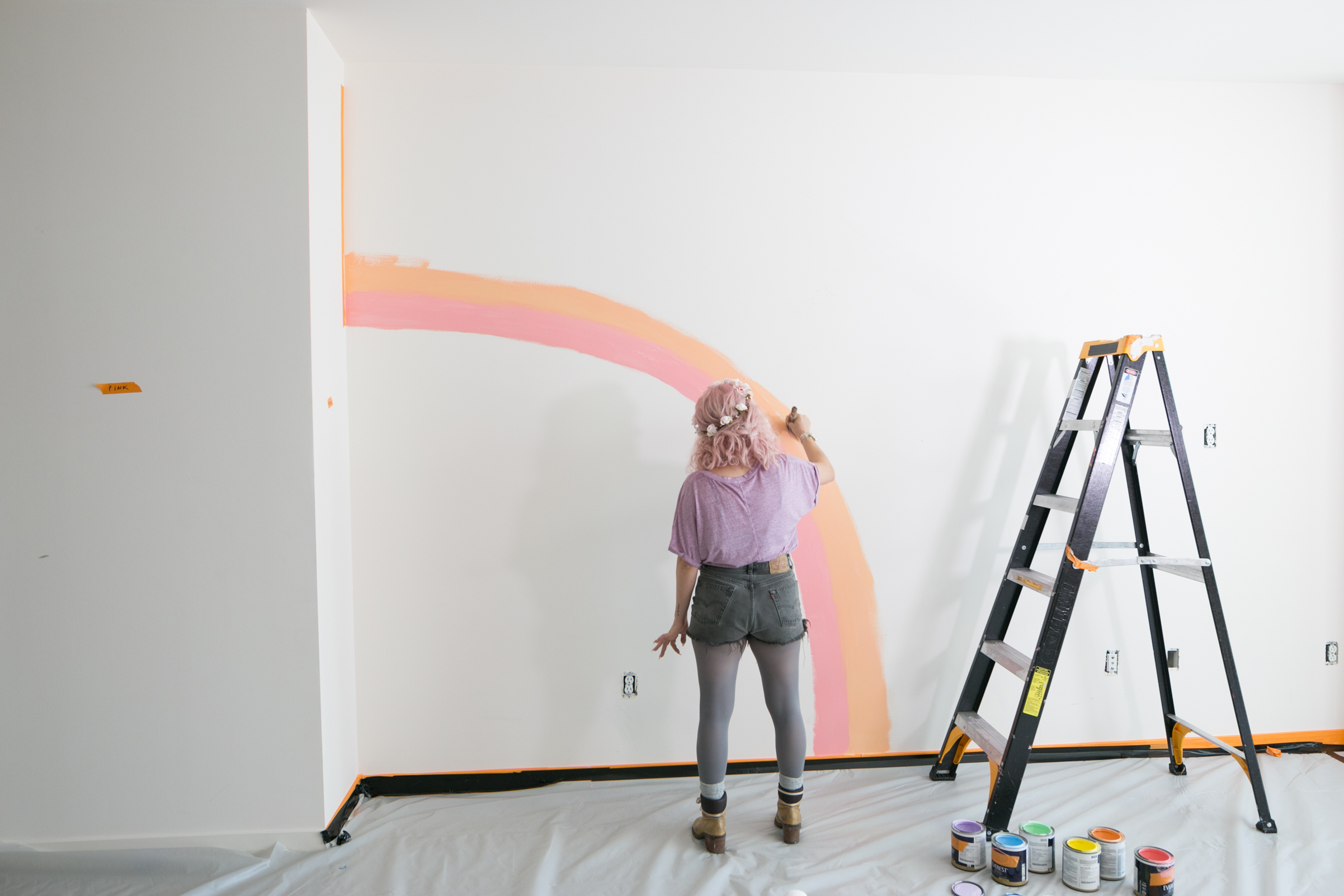 Mr Kate DIY Rainbow Mural Wall
