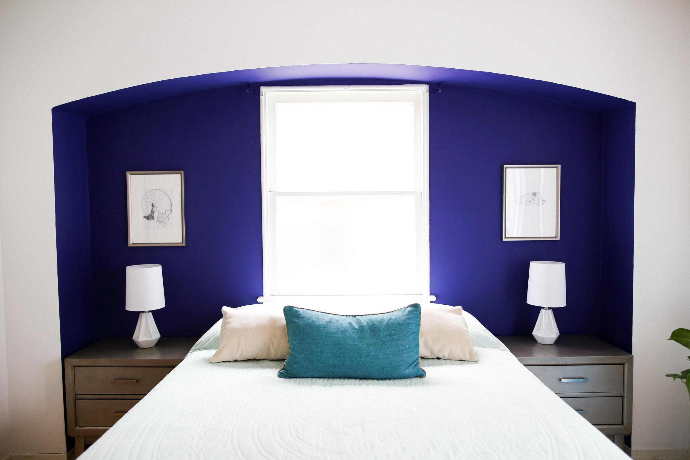 Mr Kate Blue and Purple Bedroom Makeover