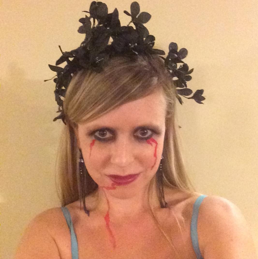 Close up of my DIY Zombie Bridesmaid makeup job.